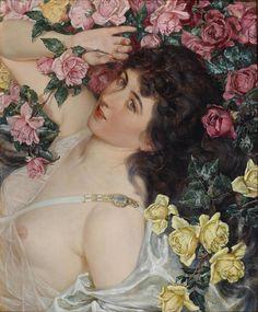 """Among the Roses"" -1897 - Talbot Hughes (british painter)"