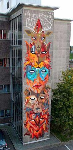 Street art mural by Strook aka Stefaan De Croock at the DayOne festival in Antwerp