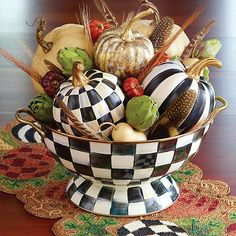 MacKenzie-Childs - Courtly Check Enamel Everything Bowl Mackenzie Childs Inspired, Mckenzie And Childs, Seasonal Decor, Holiday Decor, Autumn Decorating, Hand Painted Ceramics, Ceramic Painting, Fall Halloween, Cheap Halloween