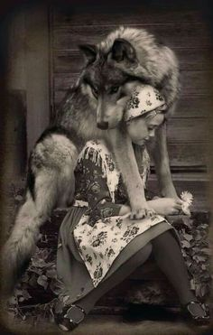 Okay, little old-timey dressed girl and her freakin gorgeous wolf. Regular people should not try to make wolves pets, but sometimes wolves choose to bond with humans, and when they do, that bond should be honored as a sacred trust. Wolf Love, Bad Wolf, Beautiful Creatures, Animals Beautiful, Animals And Pets, Cute Animals, Wild Animals, Baby Animals, Beautiful Wolves
