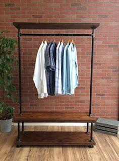 Pipe Clothes Rack Amazon Com Industrial Clothing With Cedar Wood Shelving 19