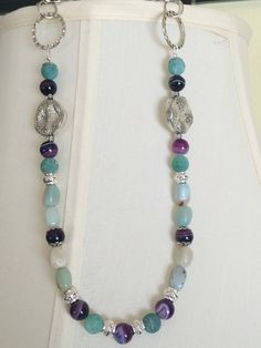 Stone and silver necklace
