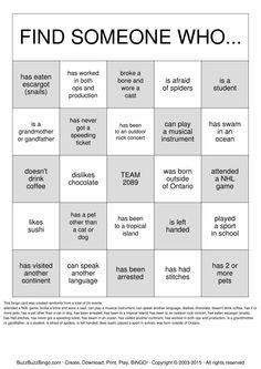 Getting To Know You Bingo Card  Class Reunions