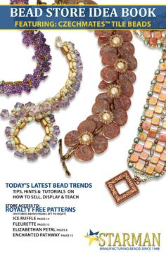 Starman CzechMates™ Tile Bead Idea Book  Tips, Hints and Tutorial Patterns on how to sell, display and teach today's latest bead trends. BEAD STORE ACCESS TO ROYALTY FREE PATTERNS!