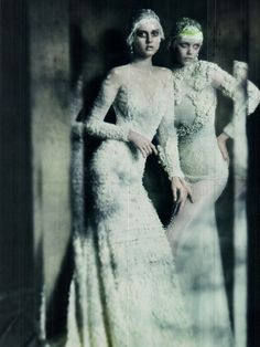 Photographed by Paolo Roversi, Frida Gustavsson, Monika Jagaciak and Kristina Salinovic give each photo a perfect upshot, capturing the glamorous and alluring pieces from Valentino, Chanel, Giorgio Armani Privé, Dior, Givenchy Haute Couture and more. Fashion Editor Lori Goldstein. Make-up by Stephane Marais and Hairstyle Julien d'Ys