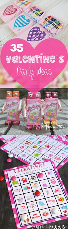 50 Fun Valentine's Day Party Ideas-Treats-Crafts, Games and Decorations 35 Valentine's Day Party Ideas: Games, Treats, Crafts and Favors. Great Valentine's Day party ideas for kid's parties or any bash you're throwing! Kinder Valentines, Valentines Day Food, Valentines Day Activities, Valentine Day Love, Valentine Day Crafts, Valentine Party, Valentine Games, Valentine Ideas, Party Activities