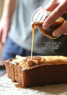 Buttery Brown Sugar Pound Cake with Salty Butterscotch Sauce. SO good!! The sauce is AMAZING!