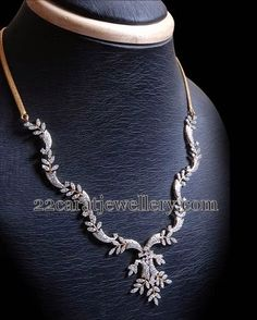 Jewellery Designs: Leafy Patterned Diamond Necklace