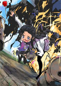 """""""ginzuna:  akemi homura black hair casing ejection clumsy crooked glasses dutch angle explosion firing glasses gun handgun jc left-handed long hair magical girl mahou shoujo madoka magica muzzle flash pantyhose pistol red-framed glasses shell casing skirt tears wavy mouth weapon  """""""