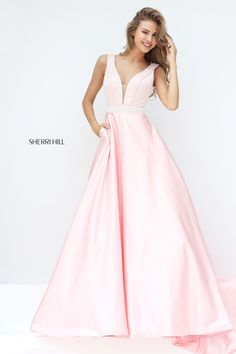 240ee9c411a Sherri Hill 50847 Plunge Neck Beaded Satin Ball Gown