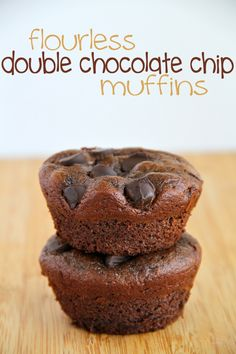 Flourless Double Chocolate Chip Muffins -- gluten-free, sugar-free, dairy-free, grain-free, and oil-free, but so soft and fluffy that you'd never be able to tell.