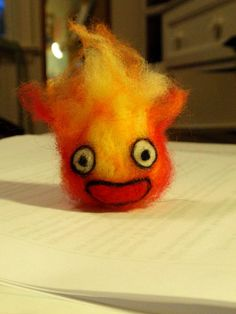 NeedleFelted Calcifer by MiniatureInspiration on Etsy, $15.00
