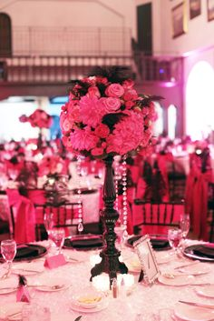 Hot Pink Wedding, would be cute in black and white too! !love the feather detail and the hanging crystals (could do with pearls! )