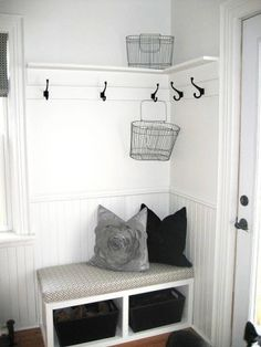 """(Another """"AROUND THE CORNER"""" Situation) entry way storage. For laundry room.  Then the other half could be for storage"""