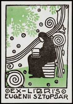 Marvellous Hungarian Art Nouveau Bookplate 1914