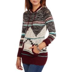 No Boundaries Juniors' Geo Aztec Hooded Sweater, Size: Small, Red