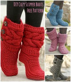 Cutest Knitted DIY: FREE Pattern for Cozy Slipper Boots, knitting, knit, gratis Anleitung, stricken Crochet Diy, Crochet Socks, Crochet Crafts, Crochet Projects, Knitting Projects, Diy Crafts, Knit Socks, Beginner Crochet, Crochet Jacket