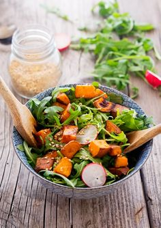 Roasted Sweet Potato, Sesame and Arugula Salad with Honey-Balsamic Dressing