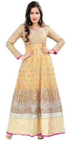 Royal Cream Georgette #Anarkali Suit. @http://www.maalpani.com/latest-arrivals.html