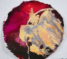 Burgundy and Gold Round Painting, Abstract Painting, Abstract Art, Watercolor Painting, Ink Painting, Mixed Media