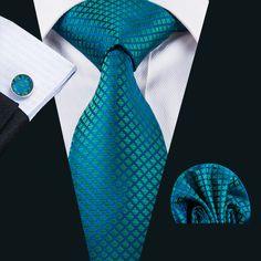 Teal Blue Plaid Tie Pocket Square Cufflinks Set – ties2you
