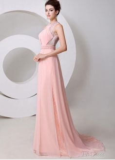 Be Pretty And Delicate With The New Style Graceful Jewel Neck Pearls A-Line Floor Length Evening Dress : Tbdress.com