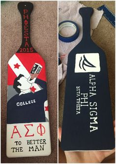 Crafting a paddle for your favorite fraternity. Fraternity Crafts, Fraternity Paddles, Fraternity Shirts, Sorority Paddles, Sorority Crafts, Sorority Recruitment, Pi Kappa Alpha, Delta Gamma, 21st Birthday Paddle