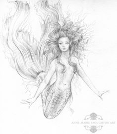 This is a bit rough, I haven't cleaned up the scan yet but this is my first mermaid drawing for the year. Happy New Year everyone!