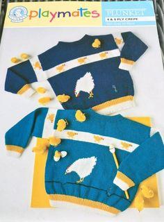 Child's Sweater Chicken Motifs Shepherd Plunket Playmates 1633 knitting pattern #Shepherd