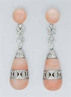 Pair of Angel Skin Coral and Diamond Pendant-Earrings   18 kt. white gold.