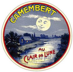 Camembert Au Clair de Lune - Vintage French cheese label