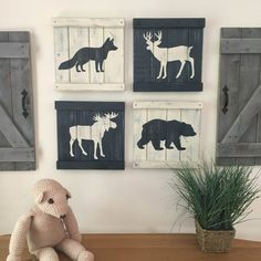 This set of 4 rustic woodland animal paintings is the perfect touch in any woodland themed room, from cabin family rooms to woodland nurseries or rustic bedrooms! The set includes a moose, a bear, a deer, and a fox each painted on a 12 x 12 wood slat canvas. The paintings are then hand distressed using our unique technique. Framing bars on the top and bottom are set with decorative nails to complete the rustic look! Ready to hang with hanging wire already attached. CHOOSE YOUR OWN COLORS…