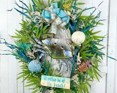 Beach Décor Home DécorWreaths for front door by ShoreLifeCreations Coastal Wreath, Nautical Wreath, Fireplace Hearth Decor, Michaels Craft, Seaside Decor, Types Of Craft, Patriotic Decorations, Summer Wreath, Wreaths For Front Door
