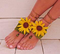 Barefoot Sandals Felt Fairy Woodland Sunflower And Leaf Fairy Costume Felt…