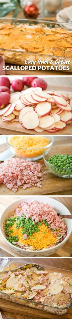 Easy Ham and Cheese Scalloped Potatoes: Scalloped potatoes with cheesy sauce, smoked ham and flavorful peas will help you win dinner. leave out ham Side Dish Recipes, Pork Recipes, Great Recipes, Dinner Recipes, Cooking Recipes, Favorite Recipes, Healthy Recipes, Potato Recipes, Dinner Ideas