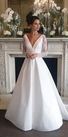 30 Stunning Long Sleeve Wedding Dresses For Brides ? long sleeve wedding dresses a line v neckline suzanneneville : 30 Stunning Long Sleeve Wedding Dresses For Brides ? long sleeve wedding dresses a line v neckline suzanneneville Wedding Dress Tea Length, Long Wedding Dresses, Long Sleeve Wedding, Wedding Dress Sleeves, Bridal Dresses, Lace Sleeves, Maxi Dresses, Modest Wedding, Bridesmaid Dresses