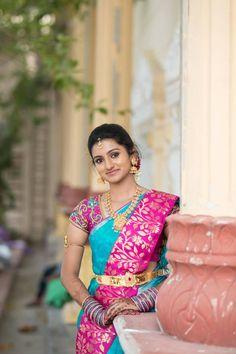 Adhesive Pink and Blue color Soft Silk Designer Saree Wedding Saree Blouse Designs, Pattu Saree Blouse Designs, Half Saree Designs, Blouse Designs Silk, Blouse Patterns, South Indian Wedding Saree, Indian Bridal Sarees, Bridal Silk Saree, Saree Wedding
