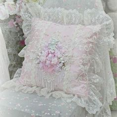 Pink Cherub Square Pillow