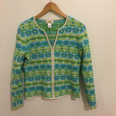 Talbots Blue,White & Green w/raised Flowers Full Zip Sweater Cardigan Size Large #Talbots #FullZip
