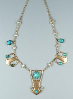 An arts and craft turquoise necklace, designed by Archibald Knox, circa 1900. C.F. Vivienne Becker, Antique and 20th Century Jewellery, N.A.G Press Ltd, London, p.24