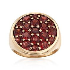 4.40 ct. t.w. Garnet Circle Cluster Ring in 18kt Gold Over Sterling | #826416 @ ross-simons.com