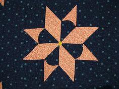 Unusual Indigo Stars quilt block, Susanna Johnson, 1846