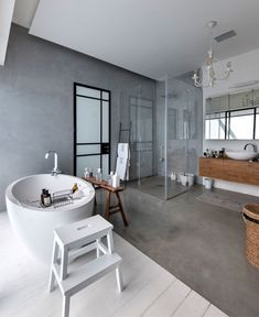 """This beautiful industrial chic home in Tel Aviv, Israel, was planned for a family of four. Architect studio NeumanHayner designed two cubes separated by a passage, creating an """"L"""" shaped house. The fr Estilo Interior, Home Interior, Bathroom Interior, Interior Design, Modern Bathroom, Wood Bathroom, Bedroom Modern, Design Interiors, White Bathroom"""