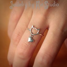 I Love Cats - cat ring - heart charm - Sterling Silver 925 - Jewelry by Katstudio