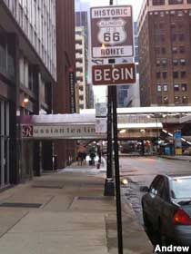 Begin Route 66 Sign - Chicago, Illinois ~ this trip along the route will highlight cafes and hopefully pick up any missing motels