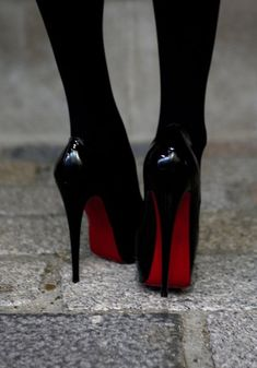 black and red high heels shoes