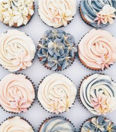 Blue Wedding Cupcakes, Blush Wedding Cakes, Blue Cupcakes, Blush And Grey Wedding, Peach Wedding Colors, Blue Gold Wedding, Dessert Table Birthday, Blue Wedding Decorations, Blue Desserts