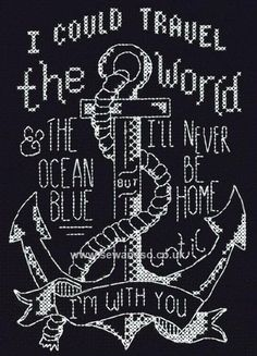 Buy With You Anchor Chalkboard Cross Stitch Kit Online at www.sewandso.co.uk