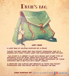 dungeons and dragons Homebrewing Druids Bag - Used bag of holding modified by a Druid. Dungeons And Dragons Characters, D&d Dungeons And Dragons, D D Characters, Fantasy Characters, Dnd Dragons, Dark Fantasy Art, Fantasy Rpg, Game Master, Dnd Druid