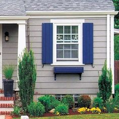 Cape Cod House In Gray With White Trim And Bright Blue Shutters And Window  Boxes [Just Some Paint, Refinished Shutters And A Little Landscaping Make  This ...